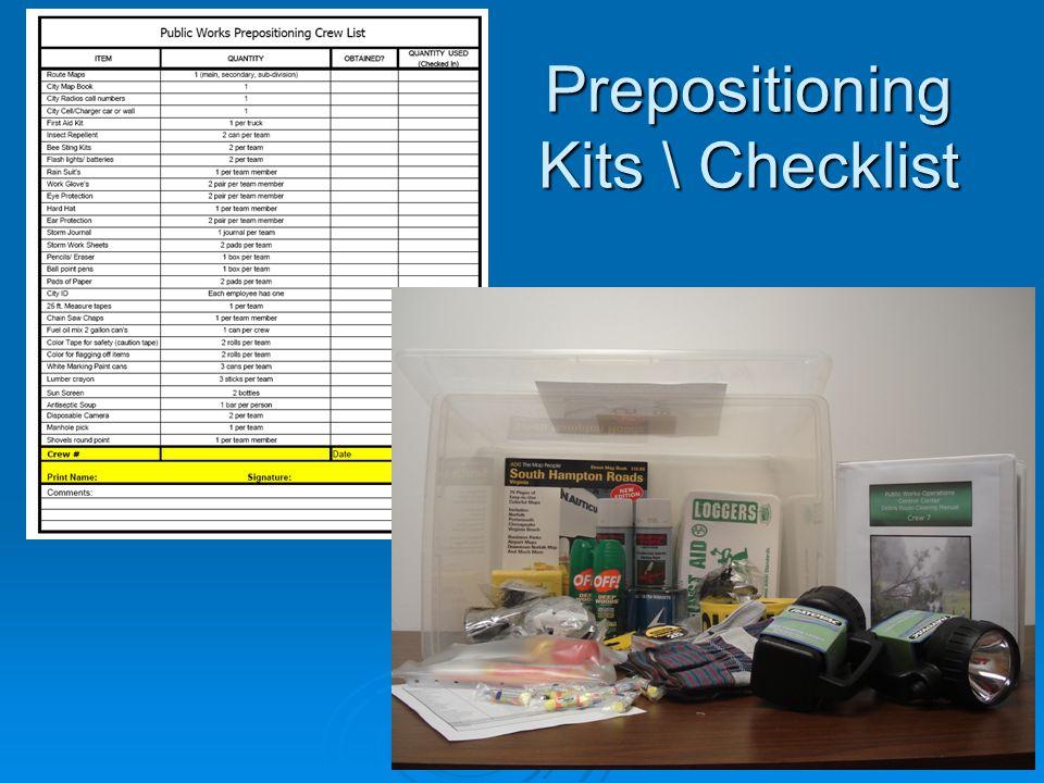 Prepositioning Kits \ Checklist