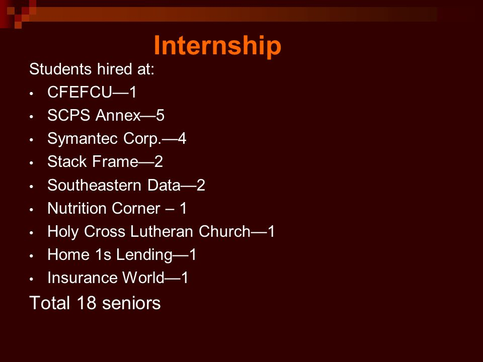 Internship Students hired at: CFEFCU—1 SCPS Annex—5 Symantec Corp.—4 Stack Frame—2 Southeastern Data—2 Nutrition Corner – 1 Holy Cross Lutheran Church—1 Home 1s Lending—1 Insurance World—1 Total 18 seniors