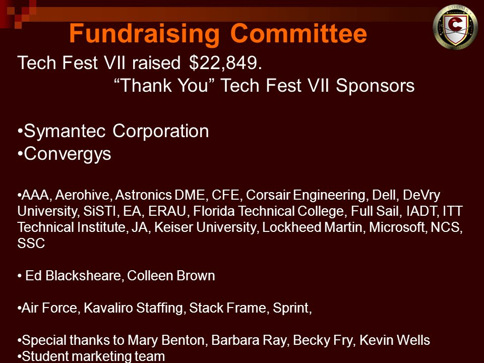 Fundraising Committee Tech Fest VII raised $22,849.