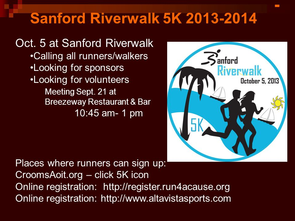 Sanford Riverwalk 5K 2013-2014 Oct.