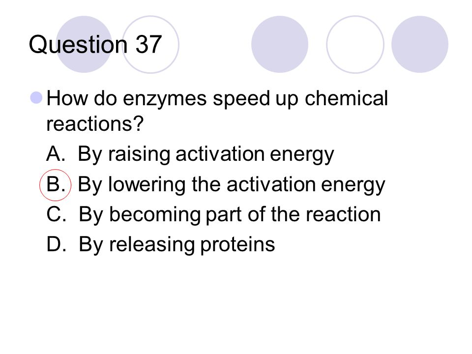 Question 37 How do enzymes speed up chemical reactions? A. By raising activation energy B. By lowering the activation energy C. By becoming part of th
