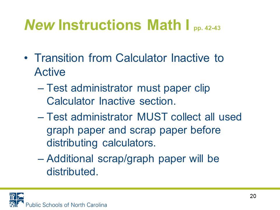 New Instructions Math I pp.
