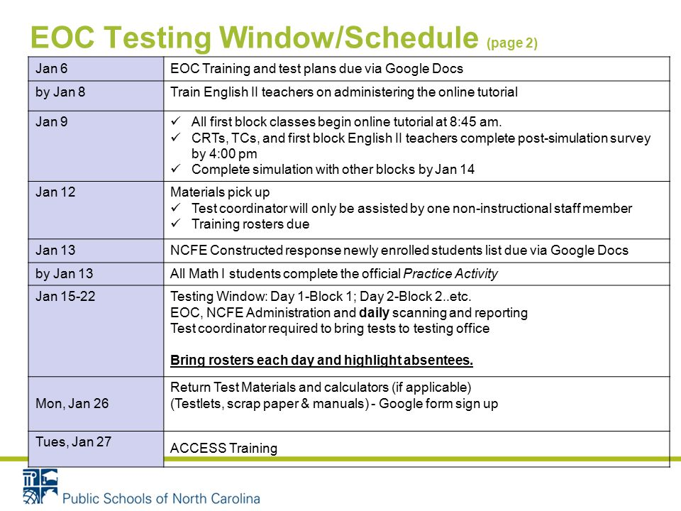 EOC Testing Window/Schedule (page 2) Jan 6EOC Training and test plans due via Google Docs by Jan 8Train English II teachers on administering the online tutorial Jan 9 All first block classes begin online tutorial at 8:45 am.