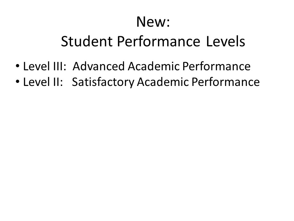 New: Student Performance Levels Level III: Advanced Academic Performance Level II: Satisfactory Academic Performance