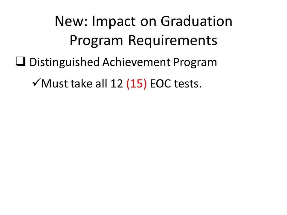 New: Impact on Graduation Program Requirements  Distinguished Achievement Program Must take all 12 (15) EOC tests.