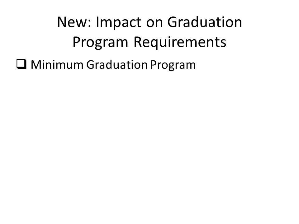 New: Impact on Graduation Program Requirements  Minimum Graduation Program