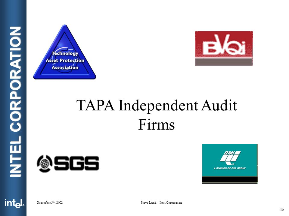 ® INTEL CORPORATION December 5 th, 2002Steve Lund – Intel Corporation 30 TAPA Independent Audit Firms