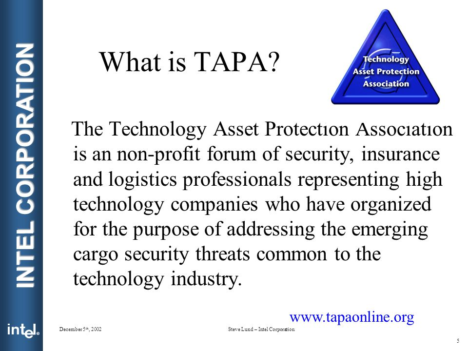 ® INTEL CORPORATION December 5 th, 2002Steve Lund – Intel Corporation 5 What is TAPA.
