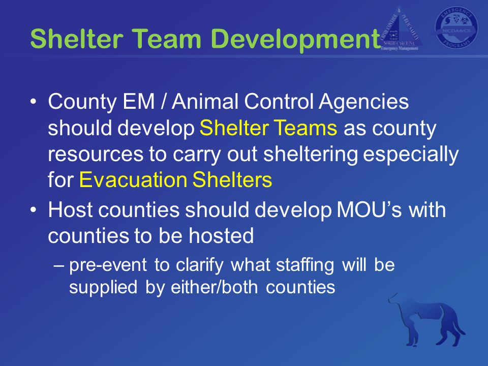 Shelter Team Development County EM / Animal Control Agencies should develop Shelter Teams as county resources to carry out sheltering especially for Evacuation Shelters Host counties should develop MOU's with counties to be hosted –pre-event to clarify what staffing will be supplied by either/both counties