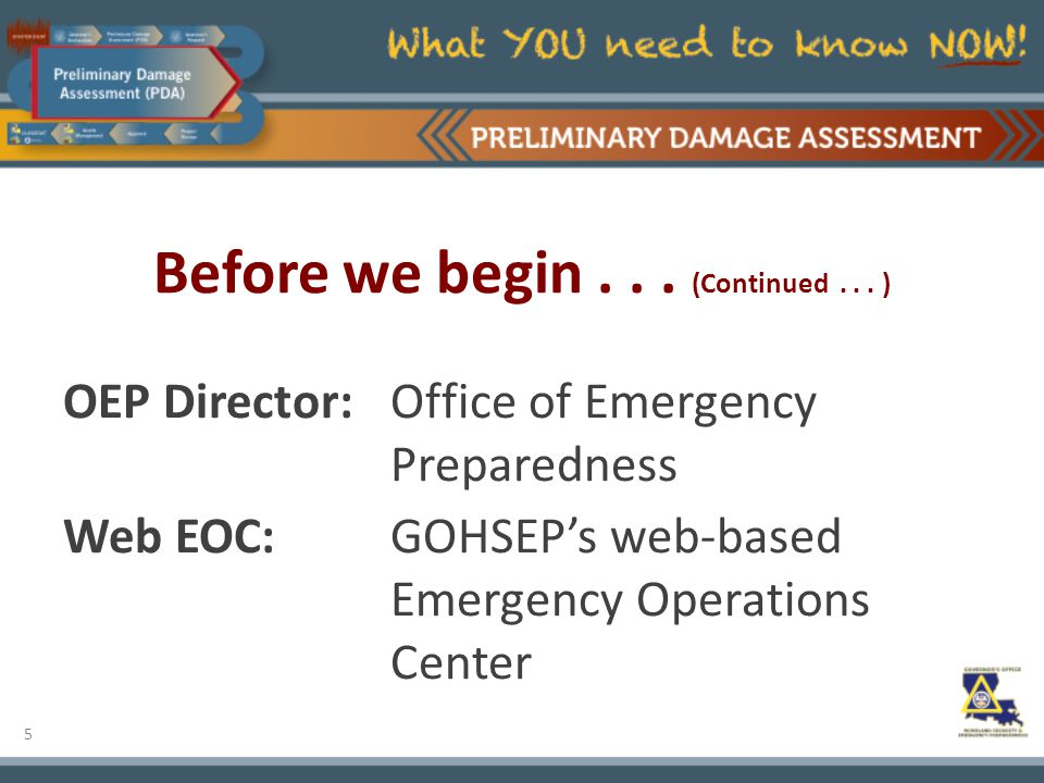 5 Before we begin... (Continued... ) OEP Director:Office of Emergency Preparedness Web EOC:GOHSEP's web-based Emergency Operations Center