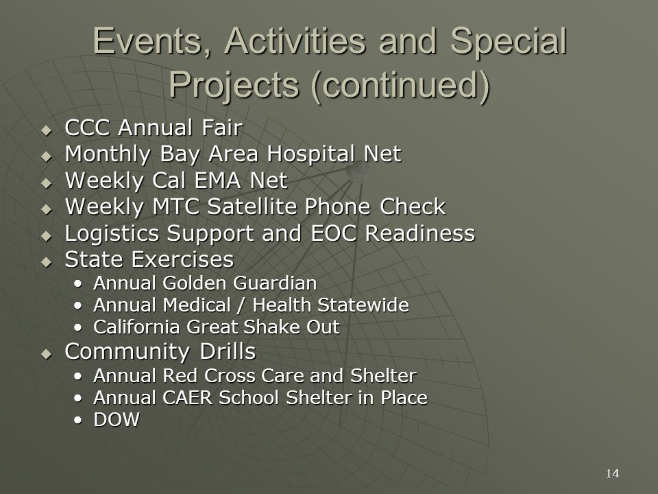 14 Events, Activities and Special Projects (continued)  CCC Annual Fair  Monthly Bay Area Hospital Net  Weekly Cal EMA Net  Weekly MTC Satellite Phone Check  Logistics Support and EOC Readiness  State Exercises Annual Golden GuardianAnnual Golden Guardian Annual Medical / Health StatewideAnnual Medical / Health Statewide California Great Shake OutCalifornia Great Shake Out  Community Drills Annual Red Cross Care and ShelterAnnual Red Cross Care and Shelter Annual CAER School Shelter in PlaceAnnual CAER School Shelter in Place DOWDOW