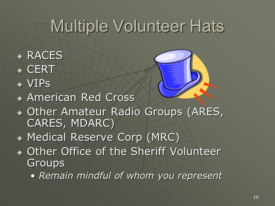 19 Multiple Volunteer Hats  RACES  CERT  VIPs  American Red Cross  Other Amateur Radio Groups (ARES, CARES, MDARC)  Medical Reserve Corp (MRC)  Other Office of the Sheriff Volunteer Groups Remain mindful of whom you representRemain mindful of whom you represent