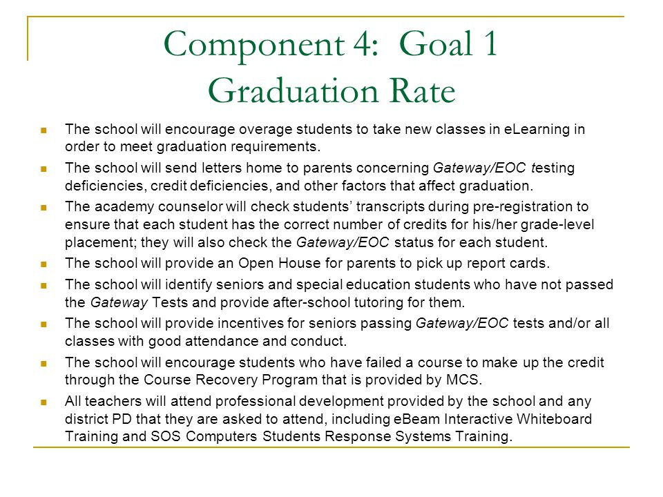 Component 4: Goal 1 Graduation Rate The school will encourage overage students to take new classes in eLearning in order to meet graduation requirements.