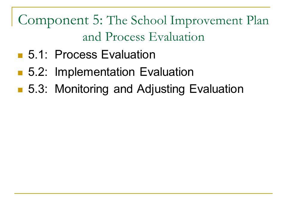 Component 5: The School Improvement Plan and Process Evaluation 5.1: Process Evaluation 5.2: Implementation Evaluation 5.3: Monitoring and Adjusting Evaluation