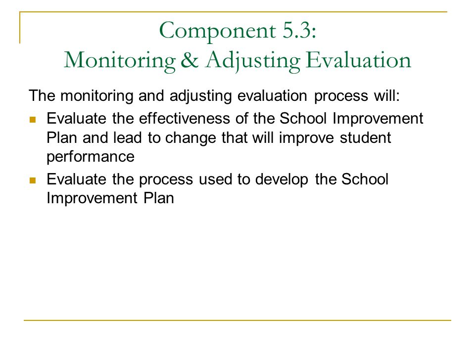 Component 5.3: Monitoring & Adjusting Evaluation The monitoring and adjusting evaluation process will: Evaluate the effectiveness of the School Improvement Plan and lead to change that will improve student performance Evaluate the process used to develop the School Improvement Plan