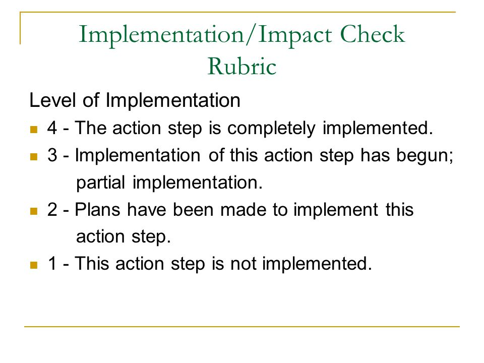 Level of Implementation 4 - The action step is completely implemented.