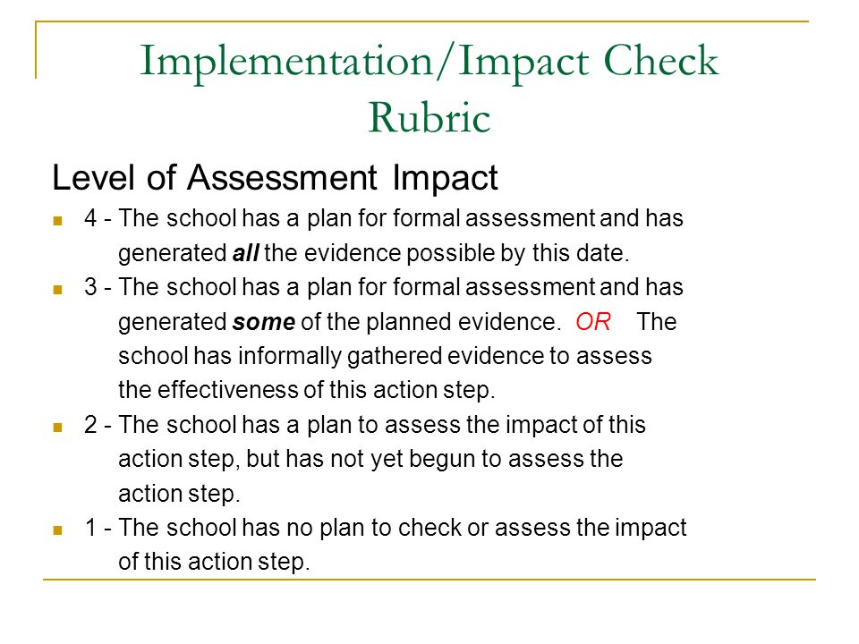 Level of Assessment Impact 4 - The school has a plan for formal assessment and has generated all the evidence possible by this date.