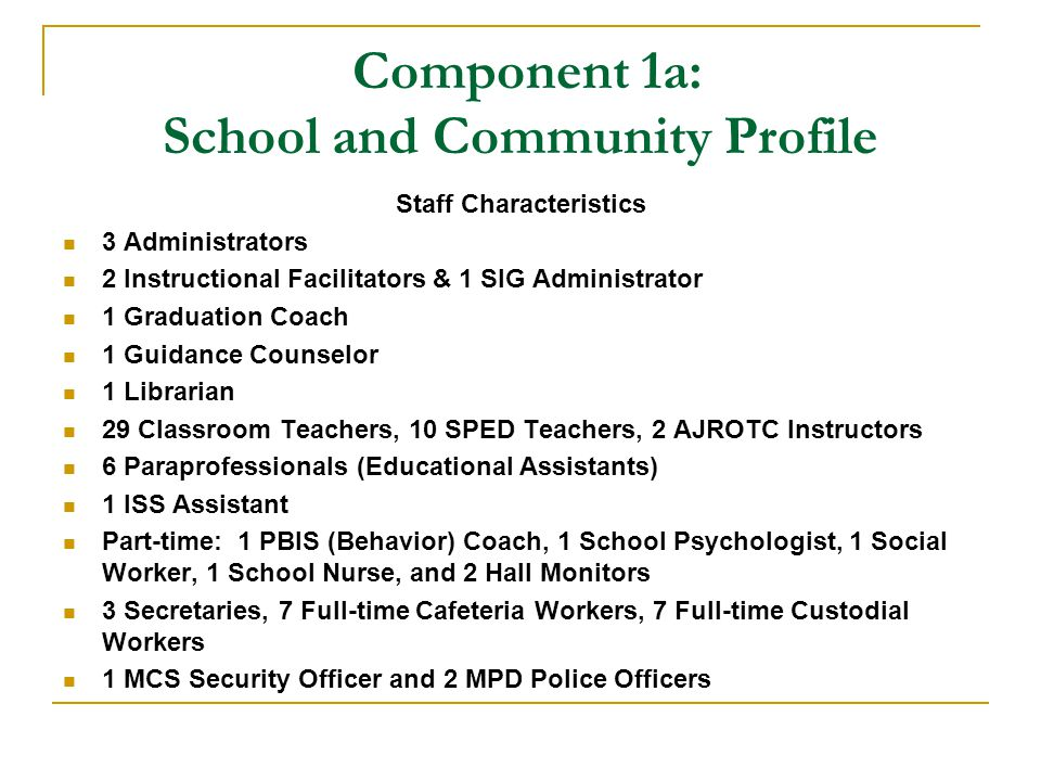 Component 1a: School and Community Profile Staff Characteristics 3 Administrators 2 Instructional Facilitators & 1 SIG Administrator 1 Graduation Coach 1 Guidance Counselor 1 Librarian 29 Classroom Teachers, 10 SPED Teachers, 2 AJROTC Instructors 6 Paraprofessionals (Educational Assistants) 1 ISS Assistant Part-time: 1 PBIS (Behavior) Coach, 1 School Psychologist, 1 Social Worker, 1 School Nurse, and 2 Hall Monitors 3 Secretaries, 7 Full-time Cafeteria Workers, 7 Full-time Custodial Workers 1 MCS Security Officer and 2 MPD Police Officers