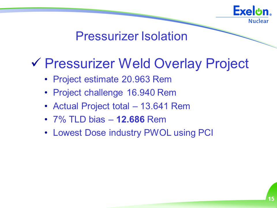 15 Pressurizer Isolation Pressurizer Weld Overlay Project Project estimate 20.963 Rem Project challenge 16.940 Rem Actual Project total – 13.641 Rem 7% TLD bias – 12.686 Rem Lowest Dose industry PWOL using PCI