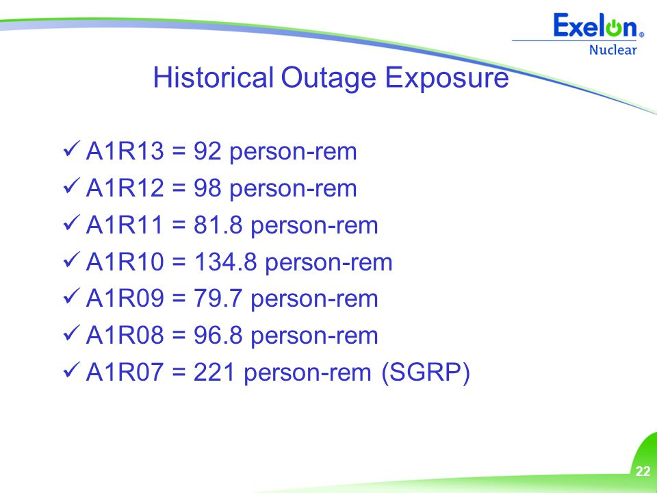 22 Historical Outage Exposure A1R13 = 92 person-rem A1R12 = 98 person-rem A1R11 = 81.8 person-rem A1R10 = 134.8 person-rem A1R09 = 79.7 person-rem A1R08 = 96.8 person-rem A1R07 = 221 person-rem (SGRP)