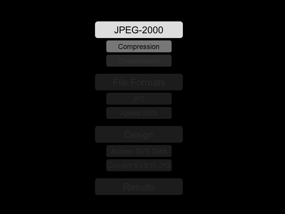 File Formats JP2 Aperio SVS Design Access SVS Data Convert SVS to JP2 Results JPEG-2000 Compression Codestreams