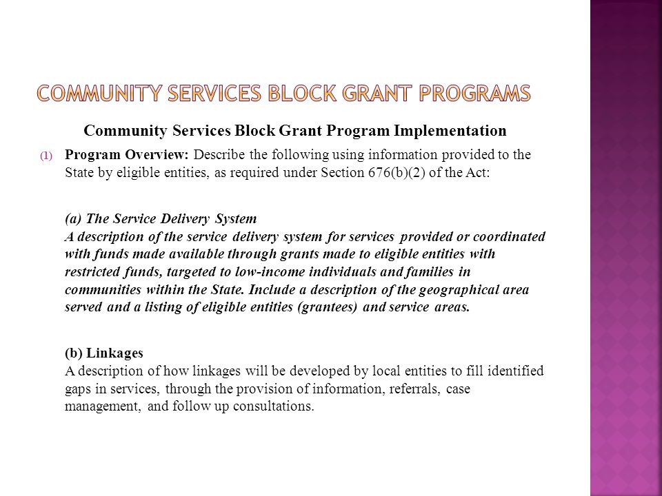 Community Services Block Grant Program Implementation (1) Program Overview: Describe the following using information provided to the State by eligible entities, as required under Section 676(b)(2) of the Act: (a) The Service Delivery System A description of the service delivery system for services provided or coordinated with funds made available through grants made to eligible entities with restricted funds, targeted to low-income individuals and families in communities within the State.