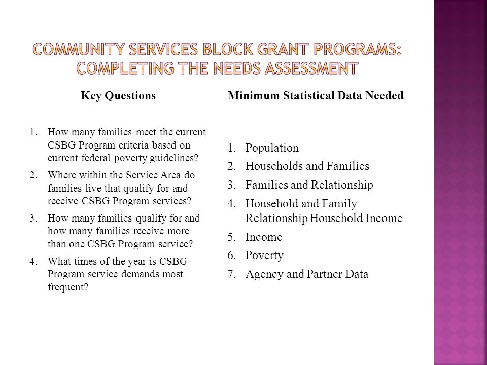 Key Questions 1.How many families meet the current CSBG Program criteria based on current federal poverty guidelines? 2.Where within the Service Area