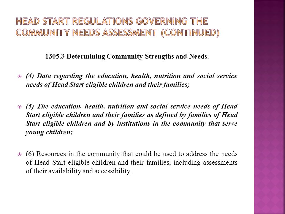 1305.3 Determining Community Strengths and Needs.  (4) Data regarding the education, health, nutrition and social service needs of Head Start eligibl