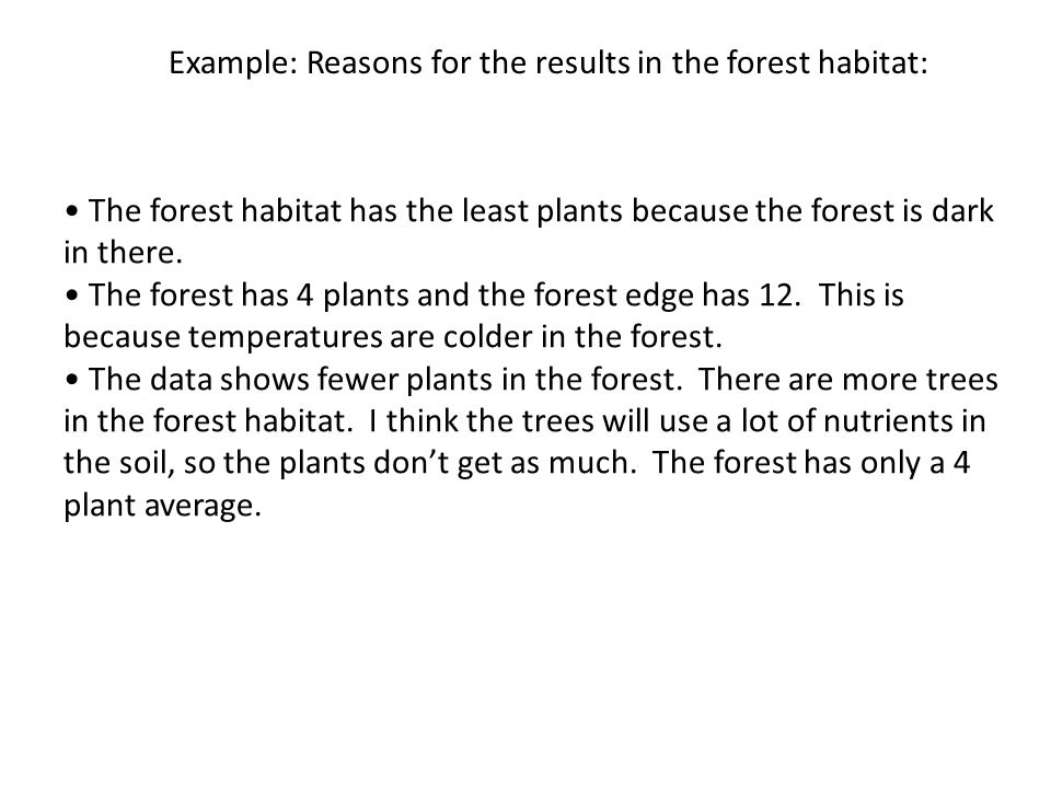 Example: Reasons for the results in the forest habitat: The forest habitat has the least plants because the forest is dark in there.