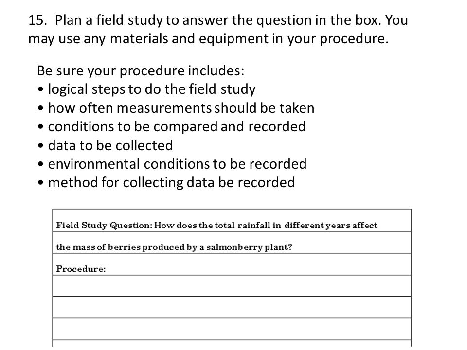 15. Plan a field study to answer the question in the box.