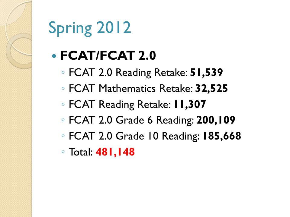 Spring 2012 FCAT/FCAT 2.0 ◦ FCAT 2.0 Reading Retake: 51,539 ◦ FCAT Mathematics Retake: 32,525 ◦ FCAT Reading Retake: 11,307 ◦ FCAT 2.0 Grade 6 Reading