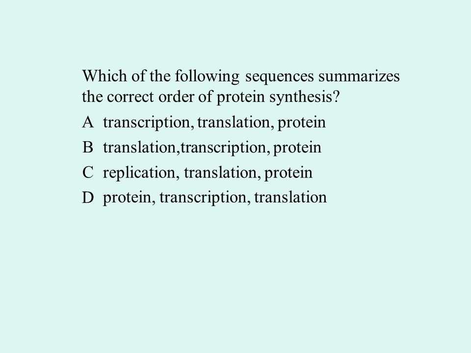 Which of the following sequences summarizes the correct order of protein synthesis.