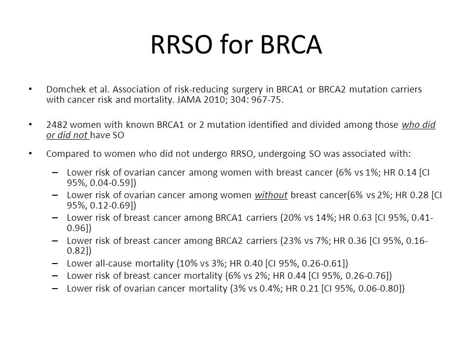 RRSO for BRCA Domchek et al. Association of risk-reducing surgery in BRCA1 or BRCA2 mutation carriers with cancer risk and mortality. JAMA 2010; 304: