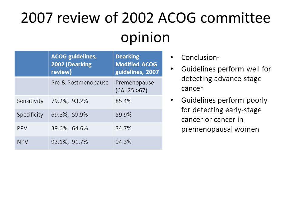 2007 review of 2002 ACOG committee opinion ACOG guidelines, 2002 (Dearking review) Dearking Modified ACOG guidelines, 2007 Pre & PostmenopausePremenop