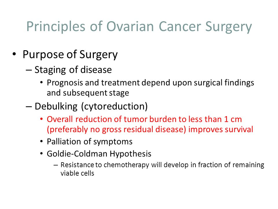 Principles of Ovarian Cancer Surgery Purpose of Surgery – Staging of disease Prognosis and treatment depend upon surgical findings and subsequent stag