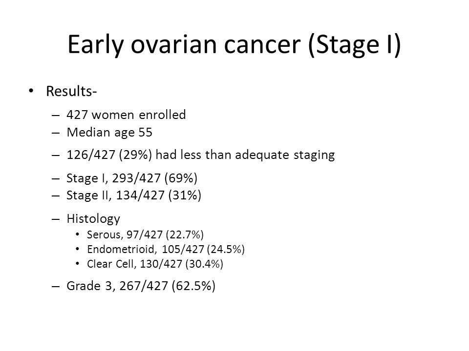Early ovarian cancer (Stage I) Results- – 427 women enrolled – Median age 55 – 126/427 (29%) had less than adequate staging – Stage I, 293/427 (69%) –
