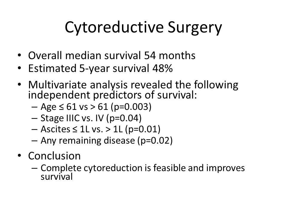 Cytoreductive Surgery Overall median survival 54 months Estimated 5-year survival 48% Multivariate analysis revealed the following independent predict
