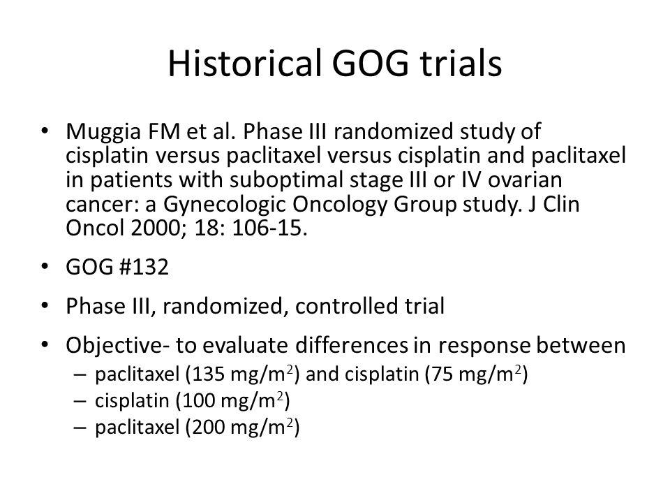 Historical GOG trials Muggia FM et al. Phase III randomized study of cisplatin versus paclitaxel versus cisplatin and paclitaxel in patients with subo