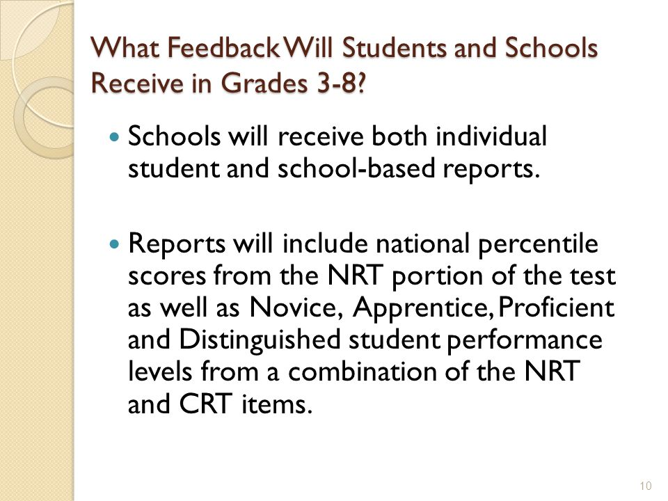 What Feedback Will Students and Schools Receive in Grades 3-8.