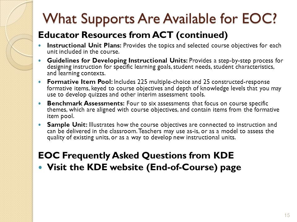What Supports Are Available for EOC.