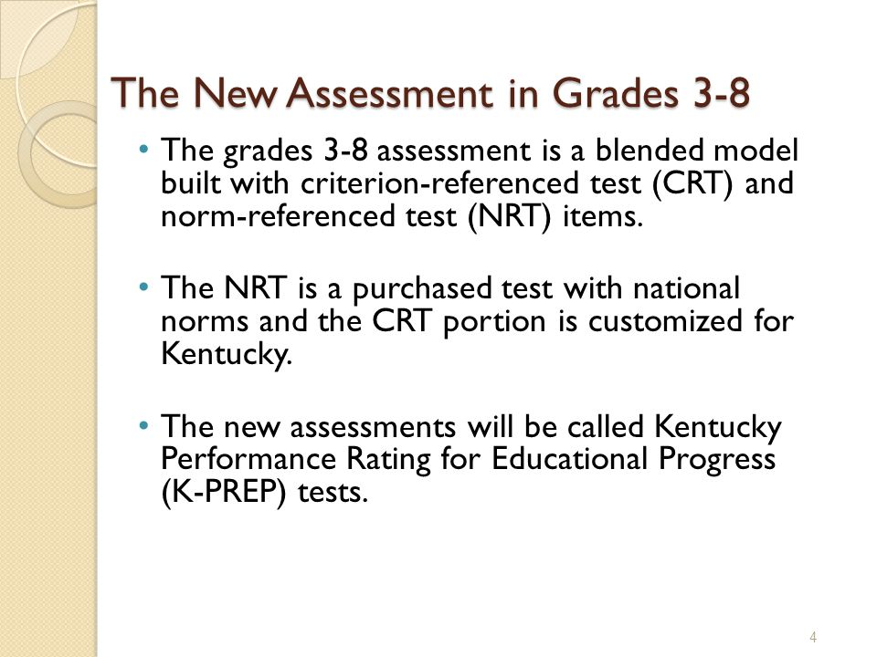 The grades 3-8 assessment is a blended model built with criterion-referenced test (CRT) and norm-referenced test (NRT) items. The NRT is a purchased t