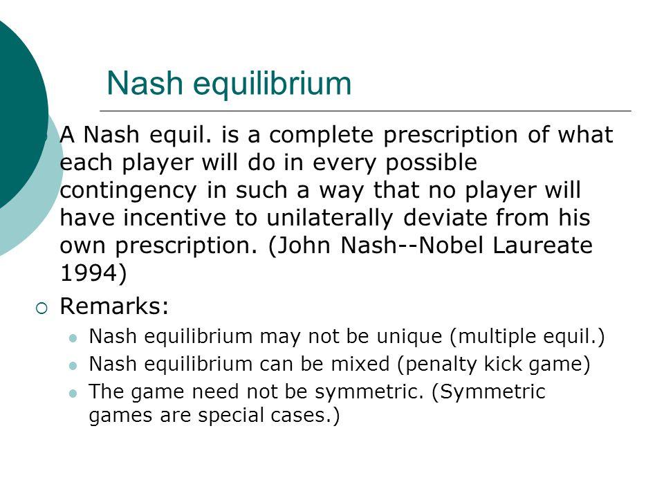 Nash equilibrium  A Nash equil.