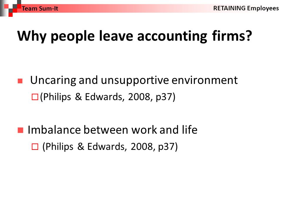 Why people leave accounting firms.