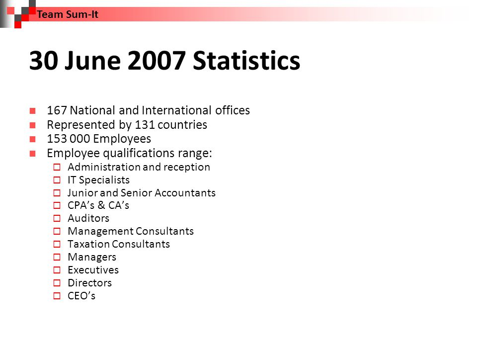 28 February 2010 Statistics 131 500 Employees 14% Lower than that of 30 June 2007 3% Due to directly recruiting of employees by competitors i.e.