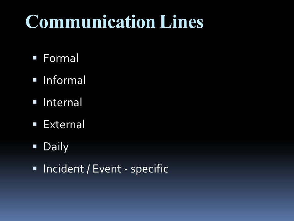 Communication Lines  Formal  Informal  Internal  External  Daily  Incident / Event - specific