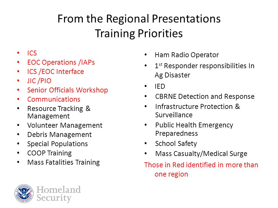 State Priorities 1. Enhance capabilities through regional comprehensive planning, exercise and training program and support HSEEP. 2. Continue to deve