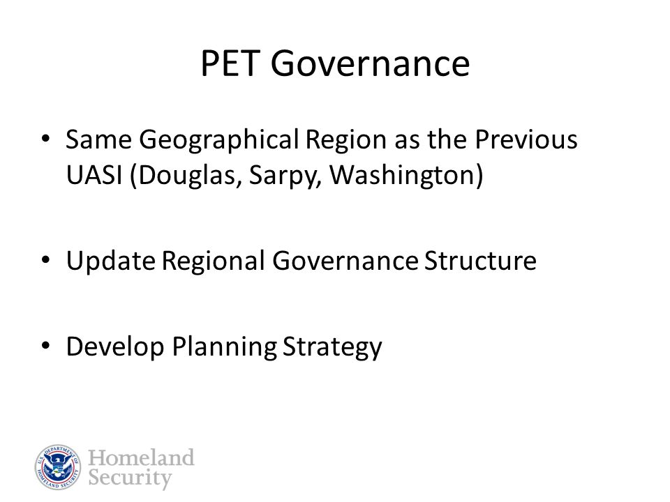Tri-County PET Region PET Governance Exercises 2008 Actual Events Lesson Learned Improvement Plans Training Needs Exercise Priorities 5 yr PET Calendar Point of Contact
