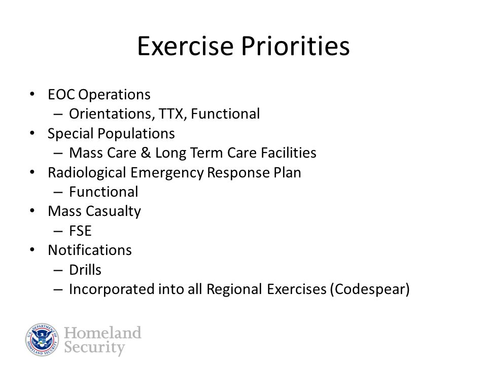 Training Needs Priorities  ICS  EOC Operations/ IAPs  ICS/EOC Interface  Joint Information System/Public Information  Resource Tracking & Management  Volunteer Management  Debris Management  Special Populations  Senior Officials Workshop