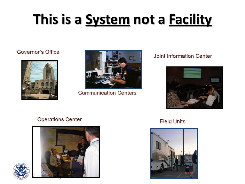This is a System not a Facility Governor's Office Communication Centers Joint Information Center Field Units Operations Center