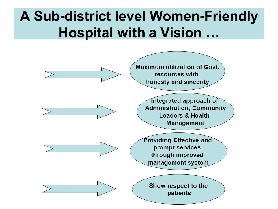 A Sub-district level Women-Friendly Hospital with a Vision … Maximum utilization of Govt. resources with honesty and sincerity Providing Effective and